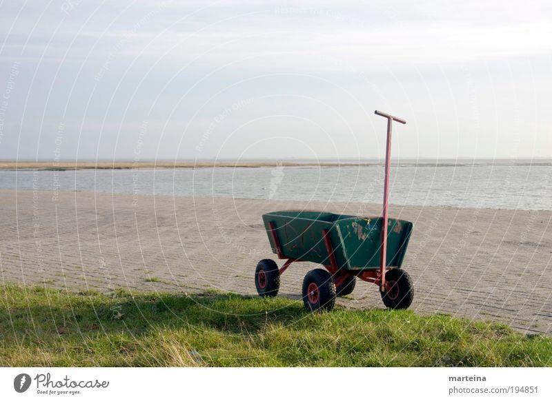 Bollerwagen blau Sonne Sommer Freude Freiheit Bewegung Freizeit & Hobby Insel Tourismus Sauberkeit Kreativität Umzug (Wohnungswechsel) Leichtigkeit Sommerurlaub