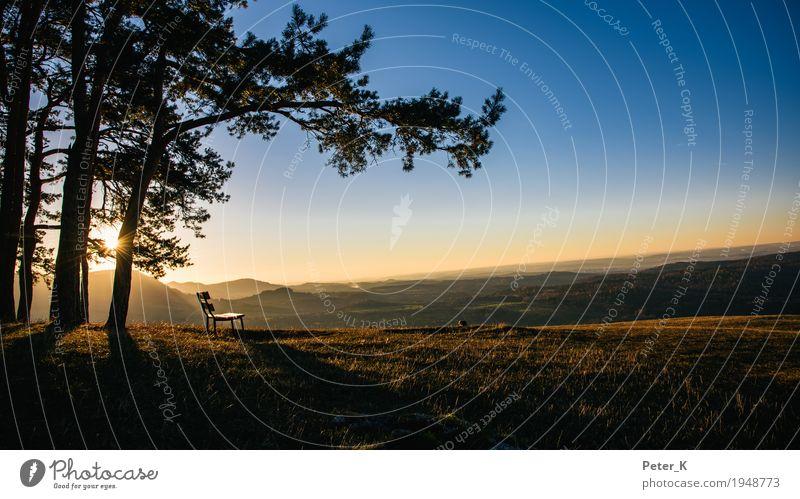 Ausblick Ferien & Urlaub & Reisen Tourismus Ausflug Ferne wandern Umwelt Natur Landschaft Wolkenloser Himmel Sonnenaufgang Sonnenuntergang Herbst Schönes Wetter