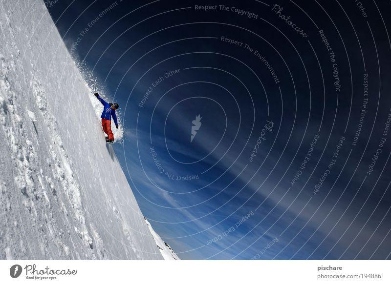 Under The Radar Mensch Himmel Natur Landschaft Freude Winter Berge u. Gebirge Schnee Sport außergewöhnlich Freiheit maskulin Freizeit & Hobby ästhetisch bedrohlich Schönes Wetter