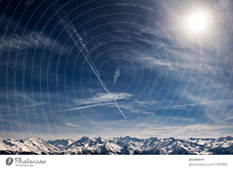 I AM FROM AUSTRIA schön Himmel blau Winter Wolken Ferne Schnee Berge u. Gebirge Freiheit Zufriedenheit Umwelt Horizont ästhetisch Tourismus Alpen fantastisch