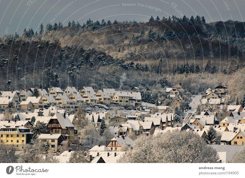 Miniaturstadt Dillenburg weiß Winter Haus Einsamkeit Wald kalt klein Dach Dorf Idylle stagnierend Lichteinfall Morgen Naturliebe