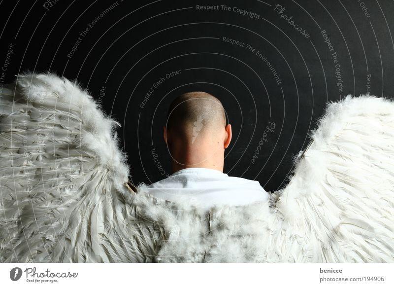 Engel Mensch Flügel Federn Feder Kostüm Karnevalskostüm Halloween Verkleidung Rücken heilig Kirche Katholizismus Mann fliegen Religion & Glaube gut Schutz