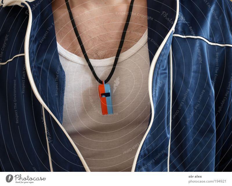 Die Pfeife Mensch Mann blau Erwachsene Sport Haare & Frisuren Stil Mode Gesundheitswesen maskulin Kraft groß Fitness dünn sportlich Team