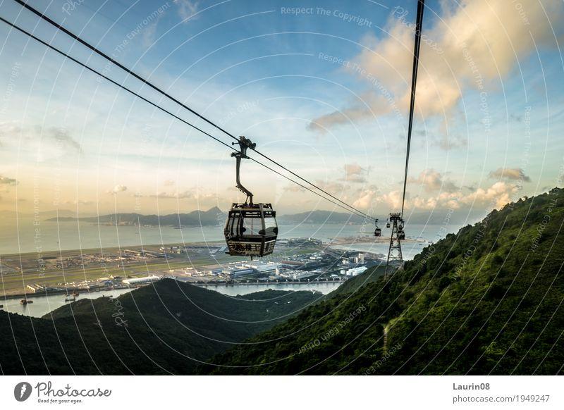 Gondel/ Seilbahn auf Hong Honk Island Natur Ferien & Urlaub & Reisen Pflanze Sommer Wasser Sonne Landschaft Meer Wolken Ferne Berge u. Gebirge außergewöhnlich