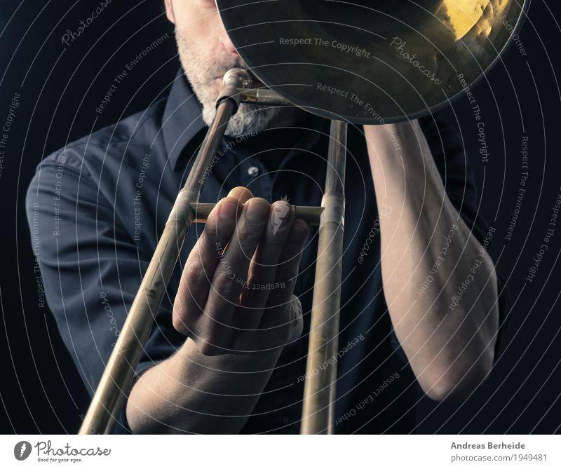Posaune spielen Stil Musik Mensch Mann Erwachsene 1 30-45 Jahre Show Spielen Konzentration Kreativität Kunst Jazz instrument Musical Hintergrundbild Blues