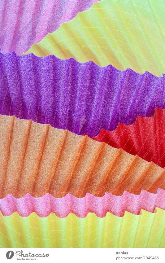 bunte Makroaufnahme von Muffinförmchen Papier gelb violett orange rosa rot Farbe mehrfarbig Wellenform Studioaufnahme Nahaufnahme Detailaufnahme