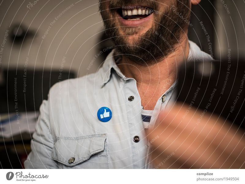 i like Mann Freude Erwachsene sprechen Innenarchitektur Lifestyle lachen Business Feste & Feiern Zufriedenheit Büro Körper Kommunizieren Technik & Technologie Erfolg Telekommunikation