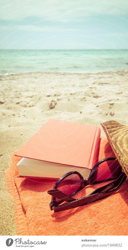 beach Ferien & Urlaub & Reisen Sommer Wasser Sonne Meer Erholung ruhig Strand Tourismus Sand orange Freizeit & Hobby Wellen Insel Buch lesen