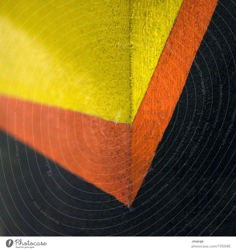 Aufschwung elegant Design Wirtschaft Architektur Mauer Wand Fassade Zeichen Linie Streifen eckig einfach positiv gelb rot schwarz Politik & Staat Zukunft