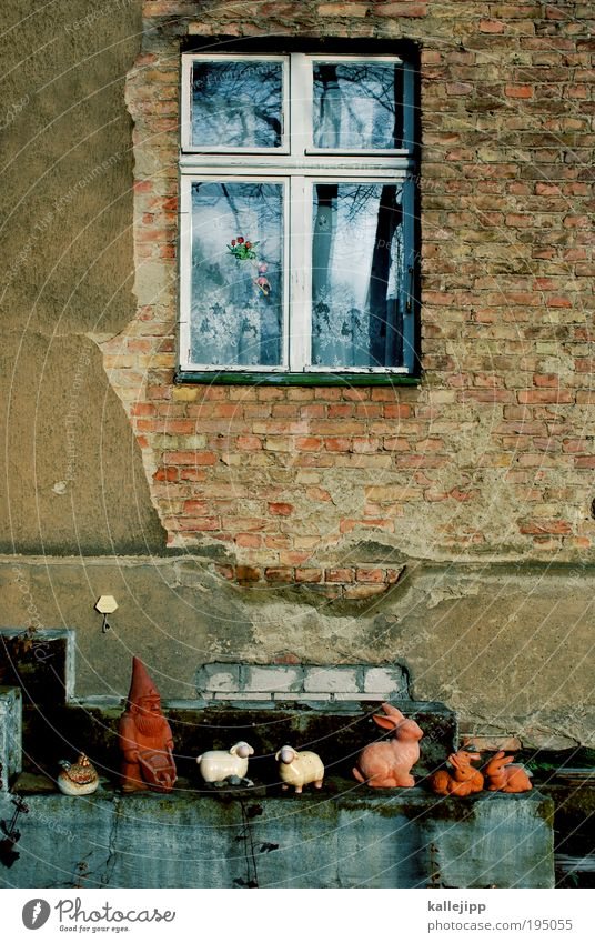 osterverkehr Haus Fenster Garten Feste & Feiern Wohnung Lifestyle Ostern Tiergruppe Kitsch Dekoration & Verzierung Häusliches Leben Schaf Nostalgie