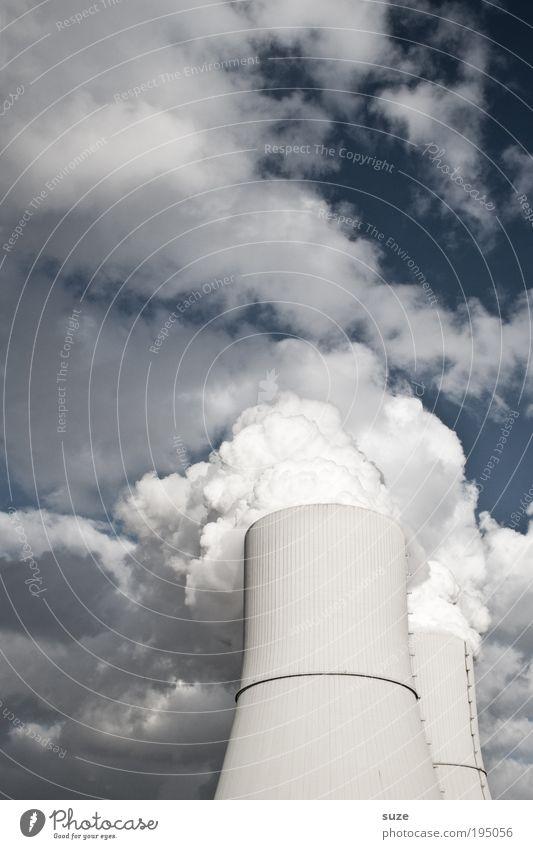 Dampfbad Himmel Wolken Umwelt Luft Wetter Klima dreckig Energiewirtschaft Zukunft Urelemente Wandel & Veränderung Industrie Industriefotografie Fabrik Rauch