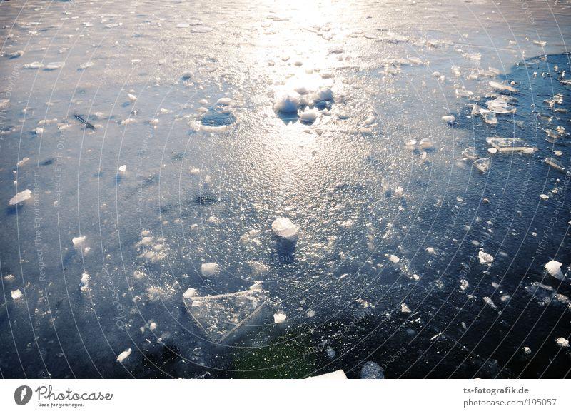 Kalte Splitter blau Wasser weiß schön Ferien & Urlaub & Reisen Winter kalt Küste See Eis glänzend Frost Urelemente Fluss Schönes Wetter Spiegel