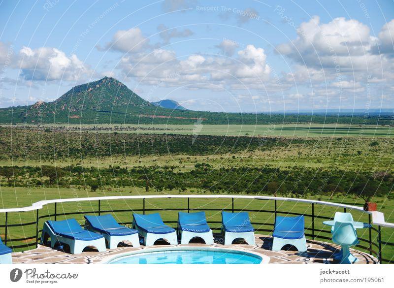 safari lodge (sun) lounger Natur Ferien & Urlaub & Reisen Landschaft Wolken Ferne Berge u. Gebirge Wärme Horizont Idylle elegant Design Sträucher Perspektive Klima retro Liege