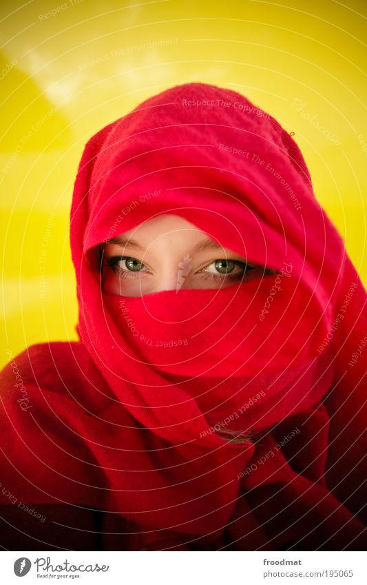 augenparty Mensch schön rot Auge gelb feminin Islam träumen Sicherheit Schutz geheimnisvoll außergewöhnlich Gesicht Wachsamkeit Respekt