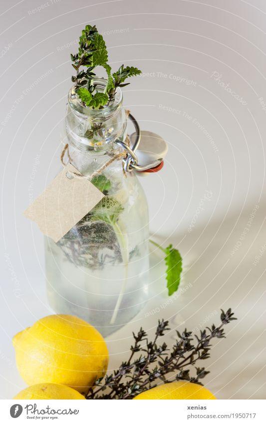 selbst hergestellte Zitronenlimonade in Flasche mit Etikett Erfrischungsgetränk Bügelflasche Frucht Kräuter & Gewürze Minze Thymian Getränk Trinkwasser Limonade