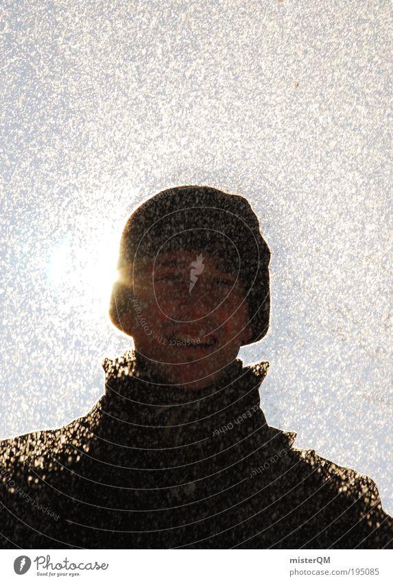 Schneemann. Mensch Jugendliche Freude Winter kalt lachen Lifestyle Schneefall maskulin Wetter modern Lächeln Lebensfreude Mütze bizarr Schneeflocke