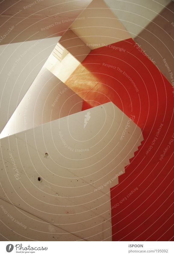 Red-Carpet-Like Kunst Basel Menschenleer Bahnhof Parkhaus Mauer Wand Treppe Beton Aggression verrückt rot weiß Neugier ästhetisch Design Energie Farbe Kraft
