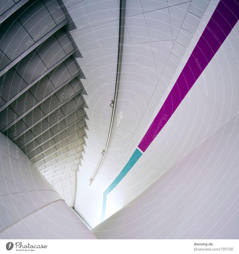 spin around blau grün Wand Architektur Mauer laufen Platz Treppe neu Sauberkeit Bauwerk violett Pfeil Fliesen u. Kacheln Geländer Quadrat