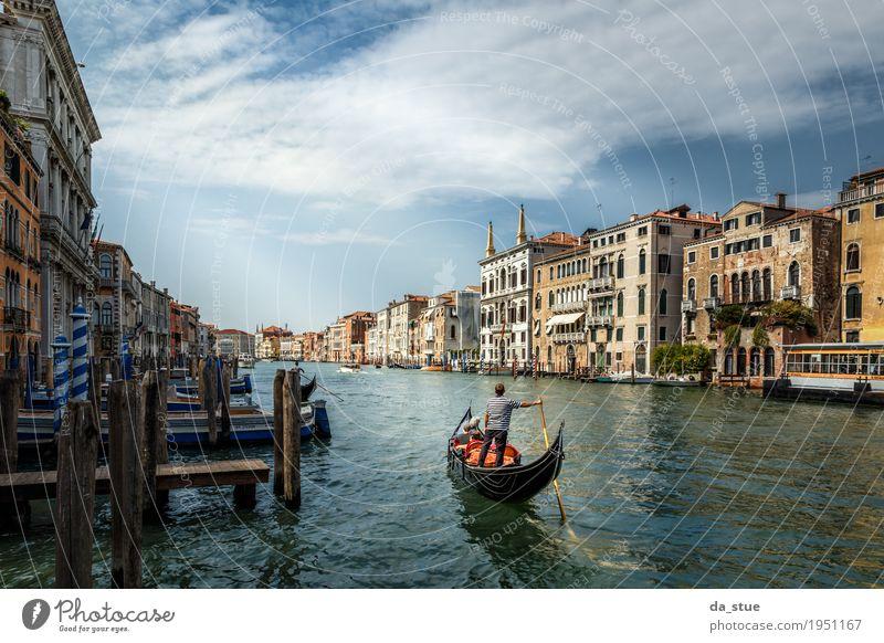 Der Gondoliere - Canale Grande Kultur Wasser Frühling Sommer Herbst Winter Schönes Wetter Fluss Venedig Italien Europa Stadt Stadtzentrum Altstadt Haus Brücke