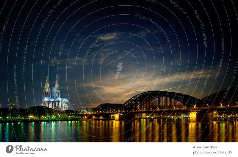 Drei Stunden Köln Himmel Stadt Stimmung Deutschland Europa Brücke Fluss Nachthimmel Skyline Wahrzeichen Panorama (Bildformat) Nordrhein-Westfalen