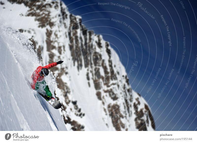 POWDER TO THE PEOPLE! Lifestyle Freizeit & Hobby Wintersport Snowboard Natur Schönes Wetter Schnee Alpen Berge u. Gebirge Sport Aggression ästhetisch