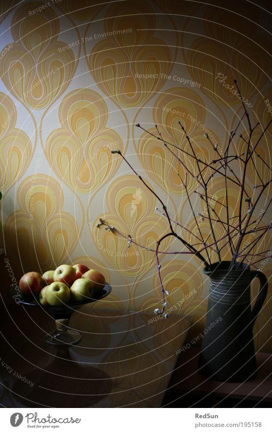 70er Jahre Stillleben Pflanze gelb Frühling Holz Stimmung Kunst Glas Lebensmittel Frucht ästhetisch retro Sträucher Dekoration & Verzierung Häusliches Leben Apfel Tapete