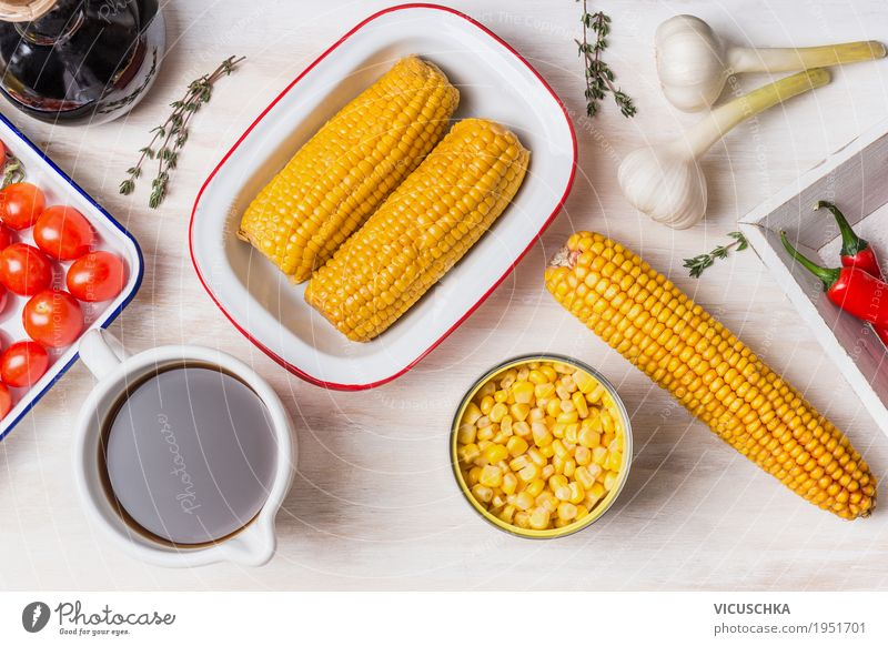 Zutaten für Maissuppe Gesunde Ernährung Essen gelb Leben Hintergrundbild Gesundheit Stil Lebensmittel Design Tisch Kräuter & Gewürze Küche Gemüse Getreide