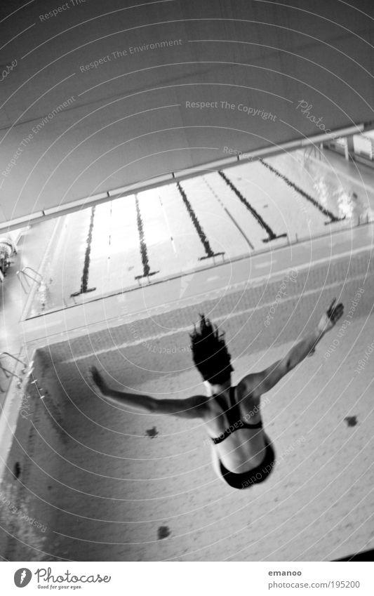 fallen angel Sport Fitness Sport-Training Wassersport Schwimmbad Mensch feminin Junge Frau Jugendliche Rücken 1 18-30 Jahre Erwachsene drehen fliegen springen