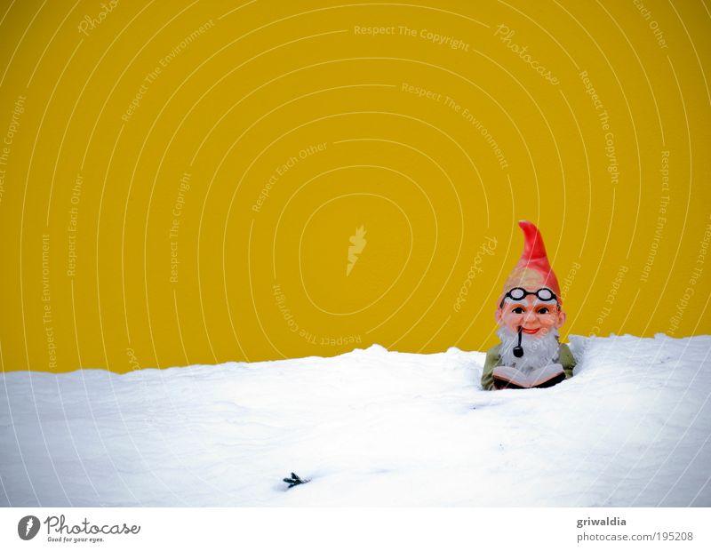 Lesezeit Freizeit & Hobby maskulin Kopf Kitsch Kunst Buch Winter Schnee Zweig Garten Haus Fassade Jacke Brille Pfeife Mütze Bart Dekoration & Verzierung