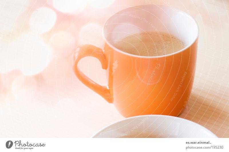 baby you can make my day. träumen Zufriedenheit orange Kaffee süß Pause trinken Häusliches Leben zart heiß lecker Frühstück Tasse Teller Morgen Schaum