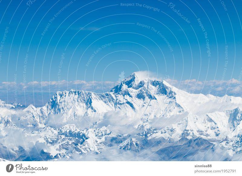 Mount Everest summit and himalaya range aerial view Natur Landschaft Wolkenloser Himmel Berge u. Gebirge Gipfel Sehenswürdigkeit ruhig Himalaya Luftaufnahme