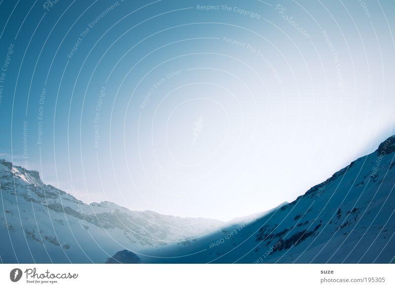 Sonnental Umwelt Natur Landschaft Pflanze Urelemente Luft Himmel Wolkenloser Himmel Winter Klima Wetter Eis Frost Schnee Alpen Berge u. Gebirge Gipfel