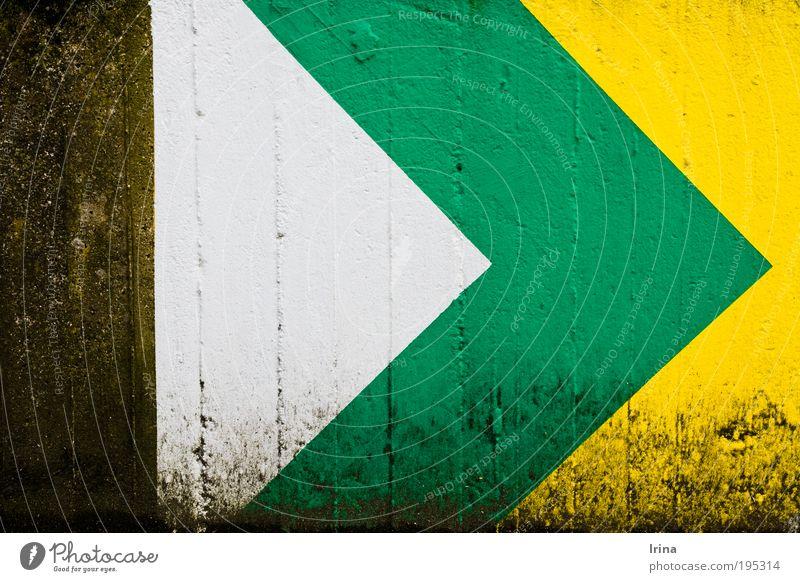 >> ab nach Jamaica [BO] weiß grün gelb Wand Stein Mauer Stil Linie braun dreckig Beton Streifen Spitze Zeichen Pfeil zeigen