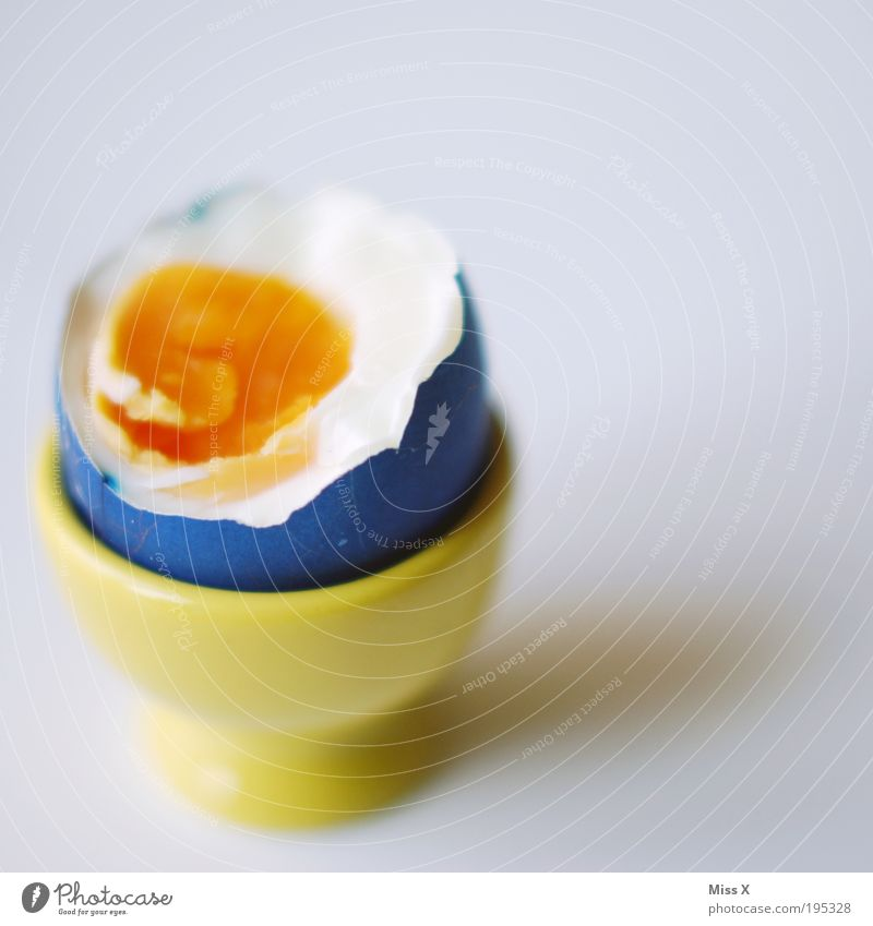 Frühstücksein Lebensmittel Ernährung Büffet Brunch Bioprodukte Becher kaputt lecker Ei Eierbecher Osterei färben Farbe Farbenspiel mehrfarbig Eigelb Protein