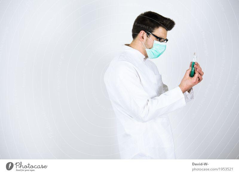 Spritze Mensch Jugendliche Mann schön Junger Mann Erwachsene Leben Senior Gesundheit Gesundheitswesen maskulin Körper beobachten Hilfsbereitschaft Krankheit