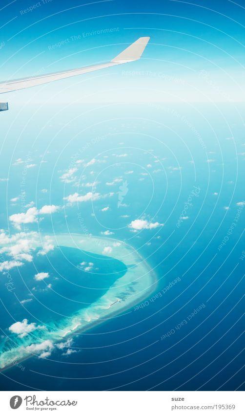 Airbrush Himmel blau Ferien & Urlaub & Reisen Wolken Fenster Freiheit Luft Hintergrundbild Horizont träumen Reisefotografie Arbeit & Erwerbstätigkeit fliegen frei Insel Luftverkehr