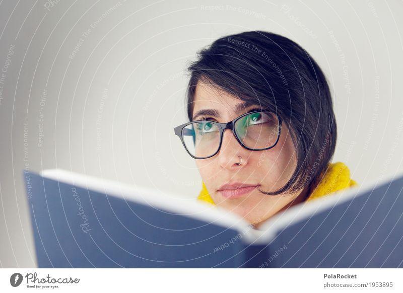 #A# knowledge Mensch Frau Gesicht Denken träumen nachdenklich Zukunft Buch Studium Brille lesen Student Konzentration Wissenschaften Gesichtsausdruck