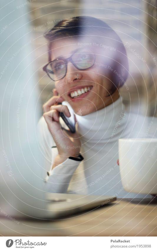 #A# Multitasking Frau sprechen feminin lachen Business Arbeit & Erwerbstätigkeit modern Aktion Erfolg Telekommunikation Lächeln Freundlichkeit Kaffee Telefon