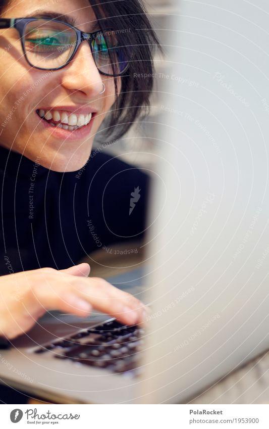 #A# Spaß an der Arbeit mit dem Laptop 1 Mensch ästhetisch Notebook Internet Tastatur Frau Brille Reflexion & Spiegelung Freude Arbeit & Erwerbstätigkeit