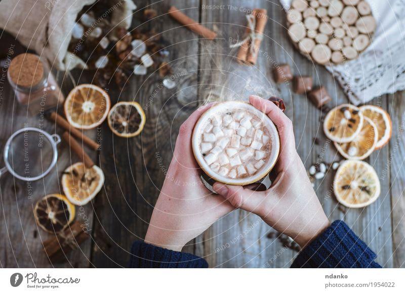 Frauenhände halten eine Tasse heißes Getränk Frucht Dessert Süßwaren Frühstück Kaffeetrinken Kakao Becher Dekoration & Verzierung Tisch Erwachsene Arme Hand 1