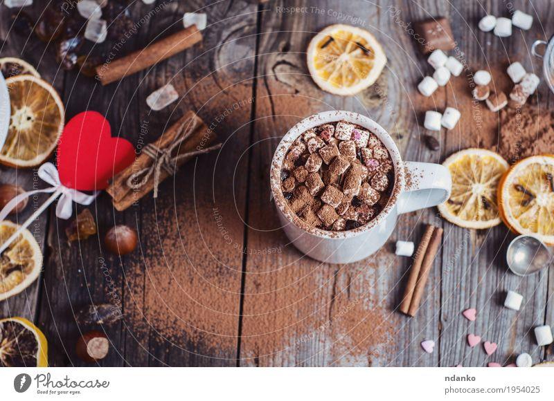 Kakao mit Marshmallows trinken rot Essen natürlich Holz grau braun oben Frucht Tisch genießen Herz Kräuter & Gewürze Getränk lecker Süßwaren heiß