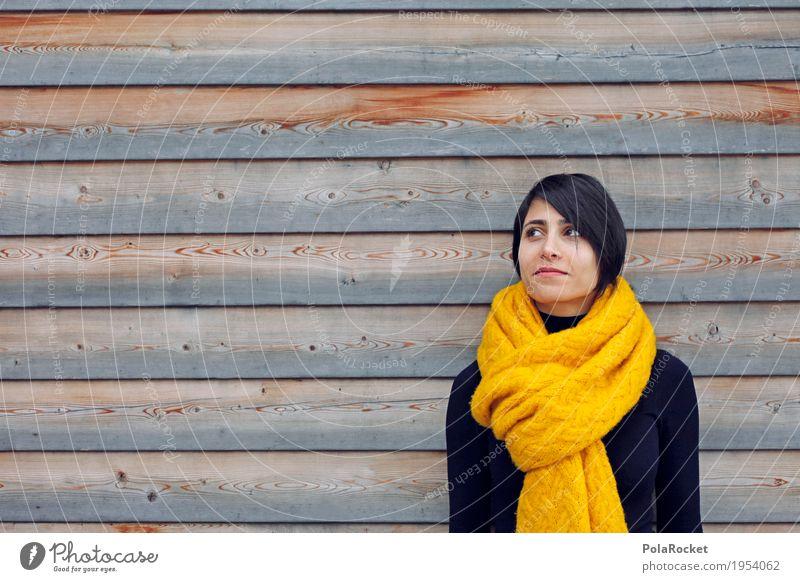 #A# Farbkontrast 1 Mensch Kreativität Holzwand Schal Frau Pullover Zukunft Futurismus Zukunftsorientiert Perspektive Student Studium Denken träumen verträumt