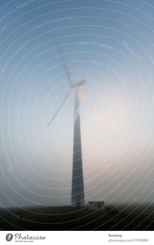 Der weiße Riese Technik & Technologie Energiewirtschaft Erneuerbare Energie Windkraftanlage Umwelt Himmel Herbst Nebel Feld groß hoch Umweltschutz Farbfoto