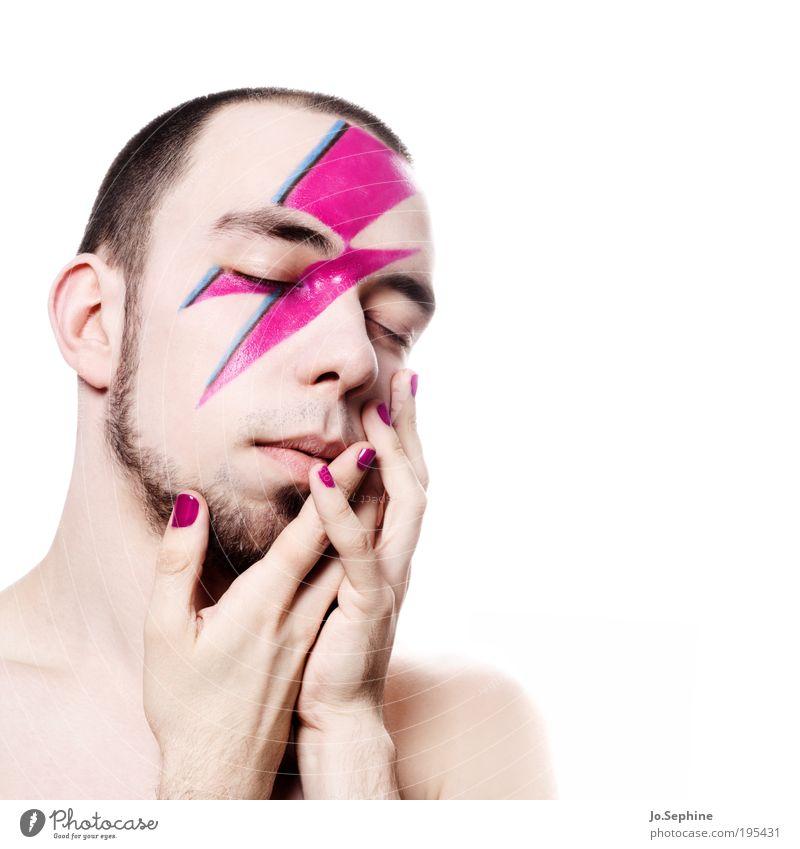 i need you Mensch Jugendliche schön Hand Erwachsene Junger Mann Gefühle 18-30 Jahre Stil träumen rosa Lifestyle Wunsch Bart Leidenschaft Kosmetik