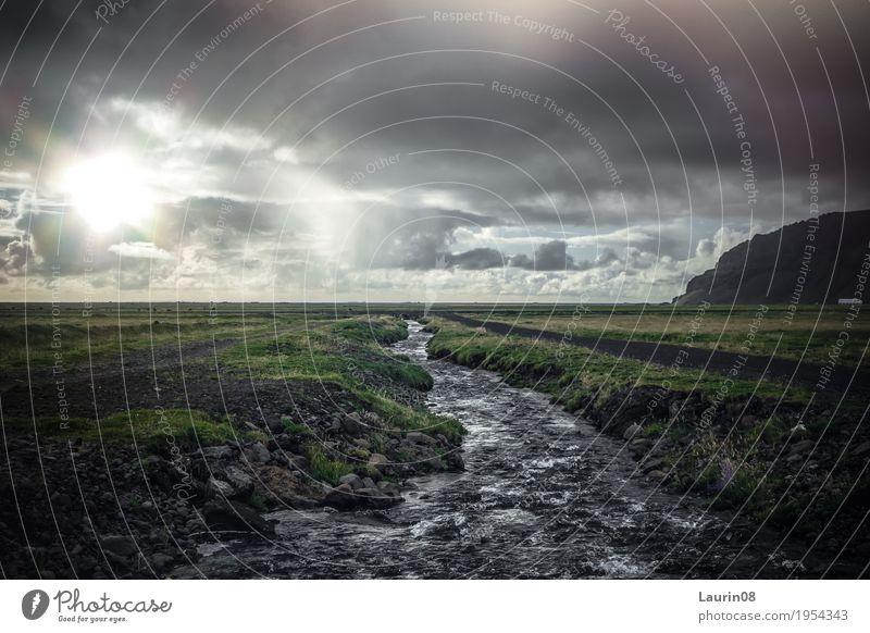 Icelandic Freizeit & Hobby Angeln Berge u. Gebirge wandern Natur Landschaft Pflanze Wasser Wolken Frühling Wiese Feld Hügel Flussufer Bach Island Europa