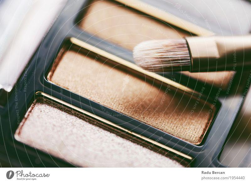 Professionelle Make-up Pinsel und Lidschatten Farbpalette elegant Stil schön Gesicht Kosmetik Schminke Werkzeug Bürste Mode streichen feminin braun mehrfarbig