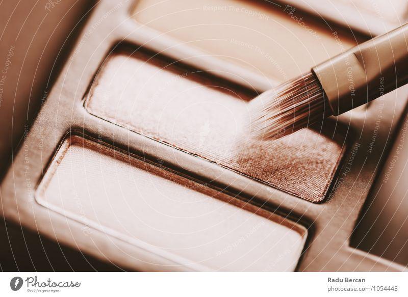 Professionelle Make-up Pinsel und Lidschatten Farbpalette Farbe schön Gesicht Lifestyle feminin Stil Mode braun Design gold elegant violett streichen rein