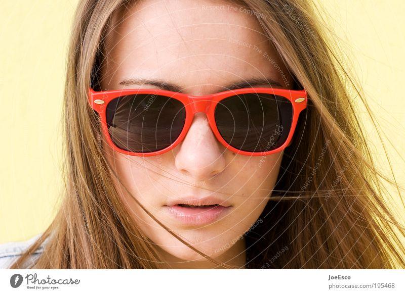 #195468. Lifestyle Stil schön Gesicht Mensch feminin Junge Frau Jugendliche Erwachsene Leben Kopf Accessoire Sonnenbrille brünett langhaarig Blick Coolness