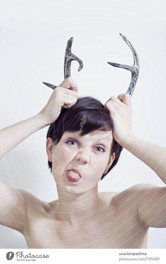 zicke! Mensch Frau Jugendliche Erwachsene Gesicht feminin sprechen Haare & Frisuren Junge Frau Kopf lustig 18-30 Jahre wild Mund verrückt Fröhlichkeit