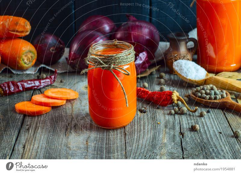 Gläser mit frischem Karottensaft Essen natürlich Gesundheitswesen grau orange Ernährung Tisch Seil Kräuter & Gewürze Getränk lecker Gemüse Geldinstitut Top